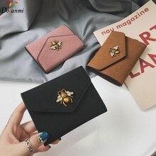 11e50665627d DORANMI металлический пчелиный замшевый короткий кошелек 2018 роскошный  бренд дизайнерский кожаный складной кошелек сумка женская карта