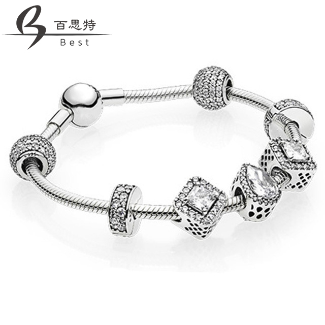BEST 100% 925 silver Charm Bracelet Glass For Women Fashion European Style Jewelry Free ShippingBEST 100% 925 silver Charm Bracelet Glass For Women Fashion European Style Jewelry Free Shipping