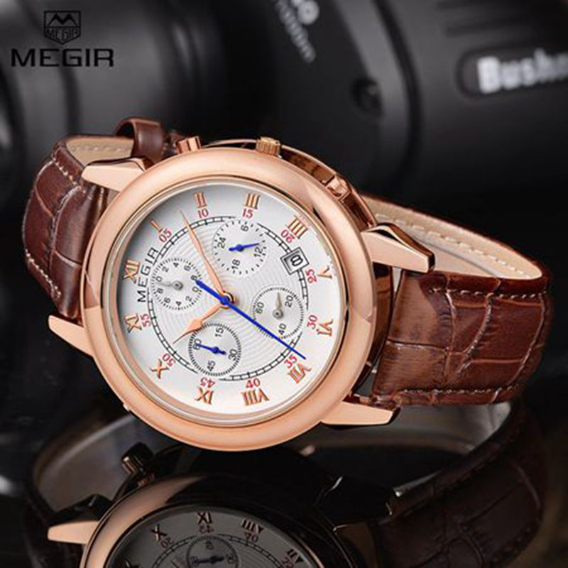 top brand watches for men 2013 promotion shop for promotional top 2016 new luxury top brand megir leather male wristwatch double sided display unique vogue men outdoor sports watches clock reloj