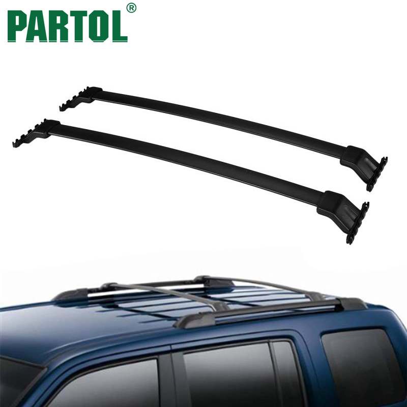 Partol Black Car Roof Rack Cross Bars Roof Luggage Carrier Cargo Boxes Bike Rack 45KG/100LBS For Honda Pilot 2013 2014 2015 partol car roof top cross bars roof rack cross bars rail carrier 150lbs aircraft aluminum for mazda cx 7 2007 2008 2009 2010 12