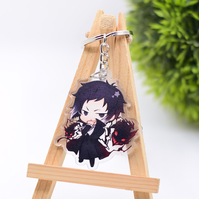 2019 Bungo Stray Dogs Keychain Double Sided Key Chain Acrylic Pendant Anime Accessories Cartoon Key Ring 1
