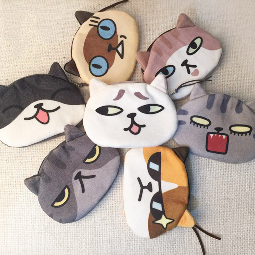 Girls Cat Face Cute Printing Coin Purse Cotton Fabric Bags Women Mini Wallet Leisure Small Flap Bag Card Holder monederos kawaii dachshund dog design girls small shoulder bags women creative casual clutch lattice cloth coin purse cute phone messenger bag