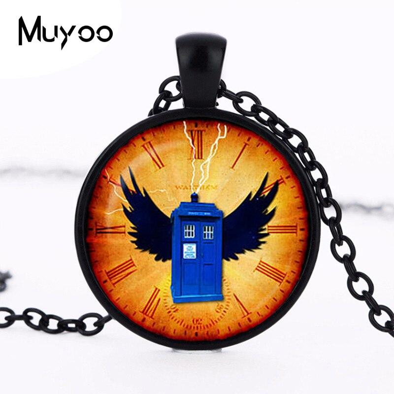 2017 new hot Vintage Colar Doctor Who Tardis necklace Clock Pendant tardis Jewelry Time Machine box Space pendant Sale HZ1