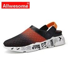 Allwesome Croc Shoes Men Summer Massage Clogs Beach Sandals Slippers Flip Flops Comfotrtable Zapatos De Hombre Big Size