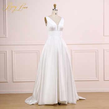 Sexy V Ivory Wedding Dress 2019 V Neck Plain Elegant Satin Wedding Gown Long Formal Bridal Dress Bride Empire vestido marriage