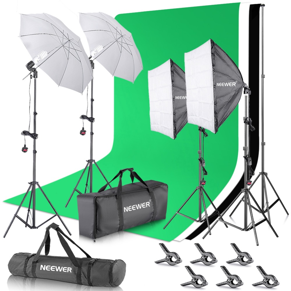 Neewer 2.6 M x 3 M/8.5ft x10ft Sfondo Sistema di Supporto e 800 W 5500 K Ombrelli Softbox Continuo kit di illuminazione per la Foto In StudioNeewer 2.6 M x 3 M/8.5ft x10ft Sfondo Sistema di Supporto e 800 W 5500 K Ombrelli Softbox Continuo kit di illuminazione per la Foto In Studio