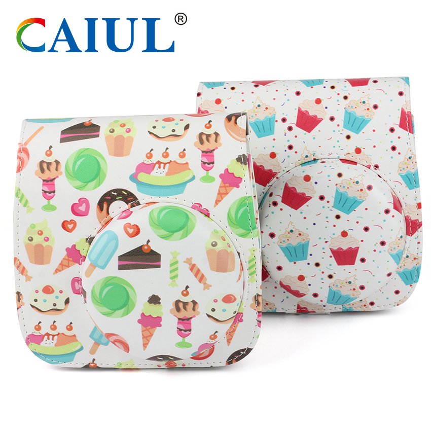CAIUL Camera Bag With Icecream Pattern PU Leather Shoulder Bag With Straps For Fujifilm instax mini 8/mini8+/mini 9 Camera Case