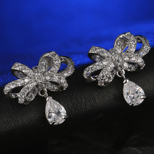 FYM Fashion New Arrival Bow White Crystal Stud Earring Rose Gold Color Trendy AAA Cubic Zirconia CZ Earrings Women new arrival fashion jewelry triangle stud earring gold color aaa cubic zirconia rhinestone earrings for women