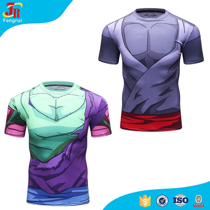 2017 Cosplay Mens Clothing Dragon Ball Z Goku Logo T-Shirt Make me Go Super Sayian Compression Fitness Short Sleeve Shirt