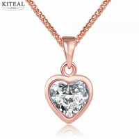 Best Gift Fashion Jewelry Rose Gold &White Gold Color Statement Love Heart Necklace Pendant For Women Graduation
