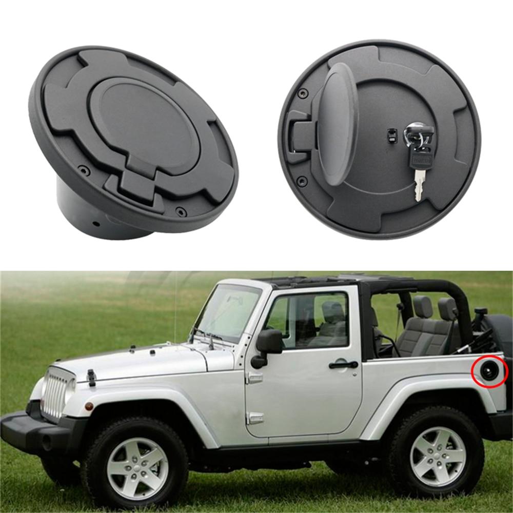 1PCS Aluminum Alloy Auto Car Oil Gas Fuel Tank Cap Cover Key Lock Exterior Decorative 2007-2017 For Jeep Wrangler JK Accessories