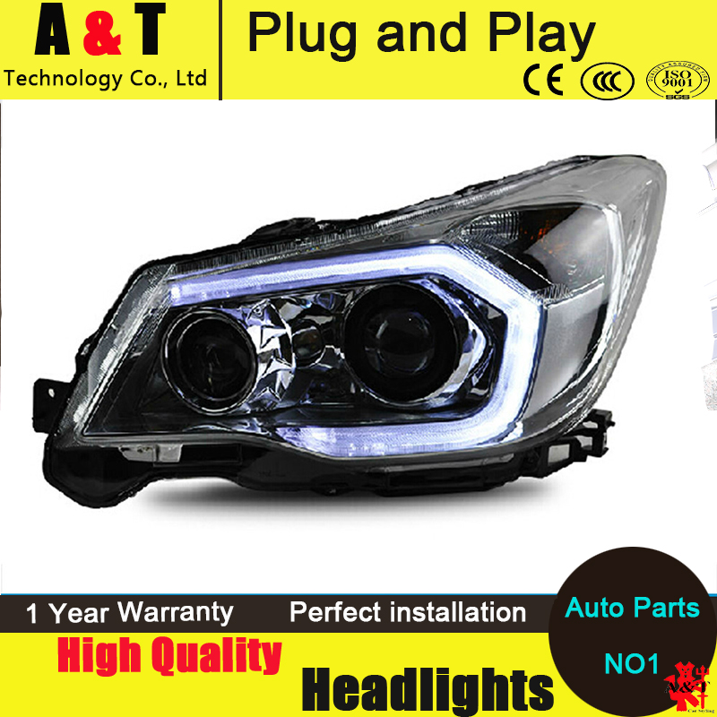 Car Styling LED Head Lamp For  Forester headlight assembly 2013-2015 LED Headlight angel eyes led drl H7 with hid kit 2pcs. car styling head lamp for bmw e84 x1 led headlight assembly 2009 2014 e84 led drl h7 with hid kit 2 pcs