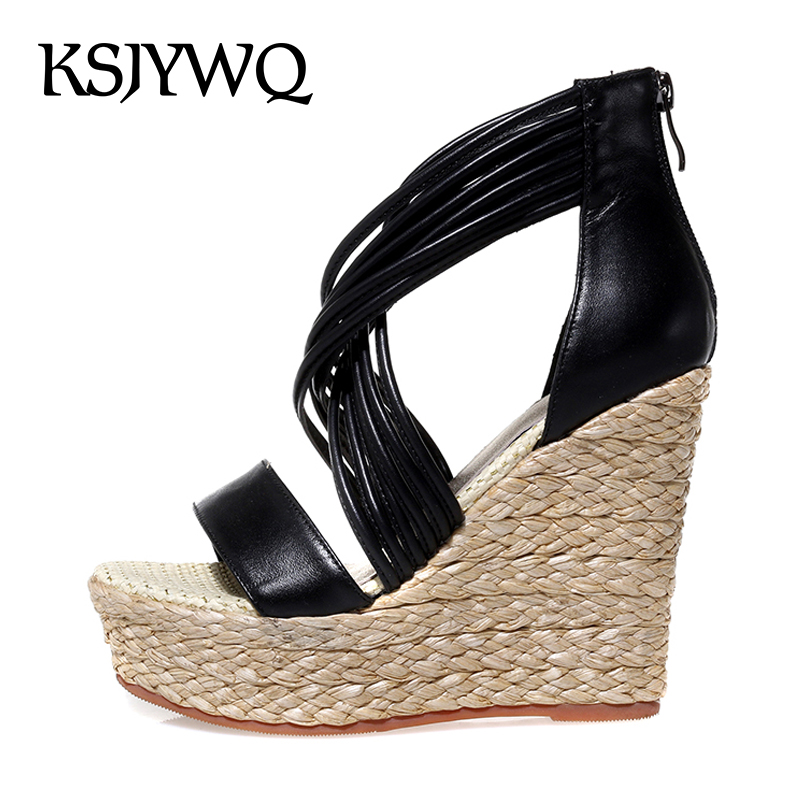 KSJYWQ Open-toe White Women Platform Sandals Genuine leather Summer Pumps 12 cm High Wedges Thick Soles Woman Box Packing 6510 ksjywq genuine leather flowers women sandals sexy exposed toe white shoes summer style clip toe shoes woman box packing a2571