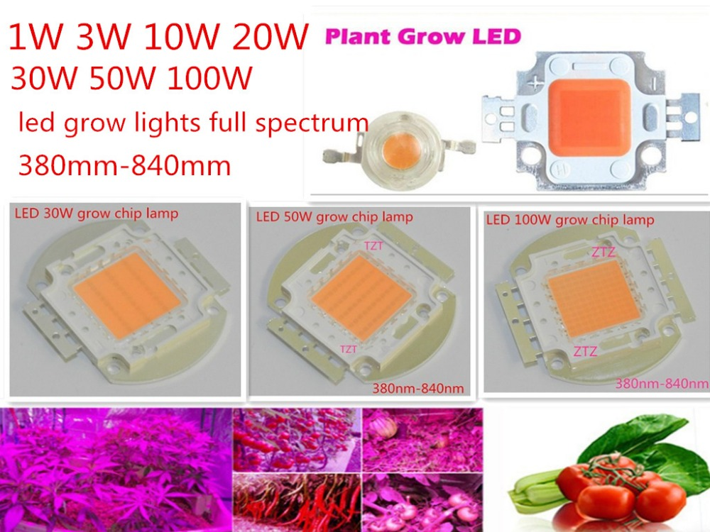 1Pcs 20W Watt High Power Full Spectrum 380-840nm SMD LED Chip Blub COB Lamp