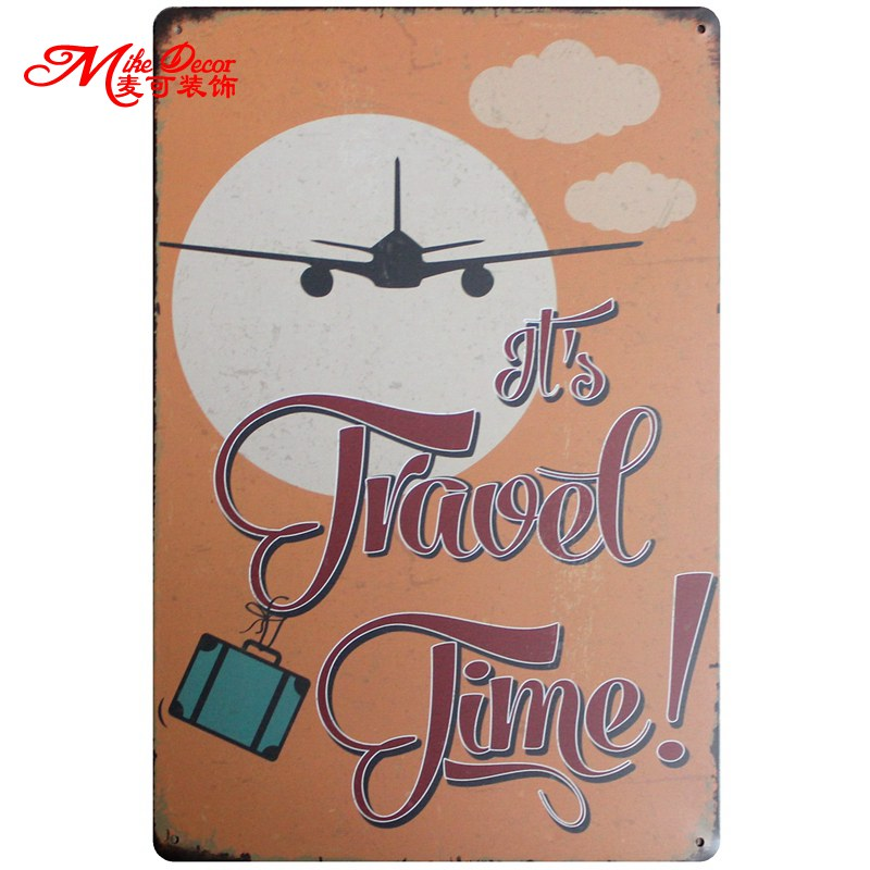 [ Mike86 ] It is Travel Time Tin Sign Metal Mural Painting Poster Retro Tourist Souvenir Retro Wall Decoration 20X30 CM AA-711