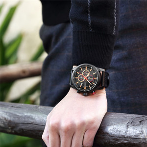 Image 3 - relogio masculino CURREN Men Watch Top Brand Luxury Chronograph Waterproof Sport Male Clock Leather Military New Wristwatch 8291