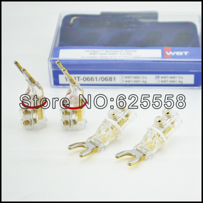 WBT 0681 CU Pure Copper Gold Plated Y Spade Free Welding Y Connectors Speaker Y Fork