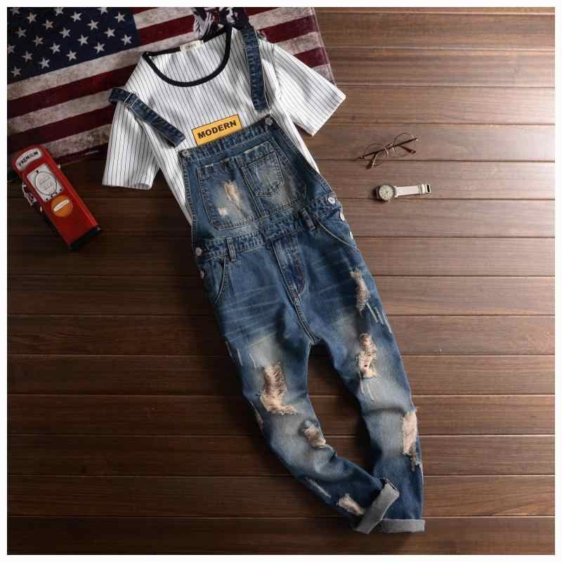 17c0495021 Fashion Casual Designer Ripped Jeans Bib Overalls Men Slim Fit Skinny  Overalls Jeans Man Destroy Wash