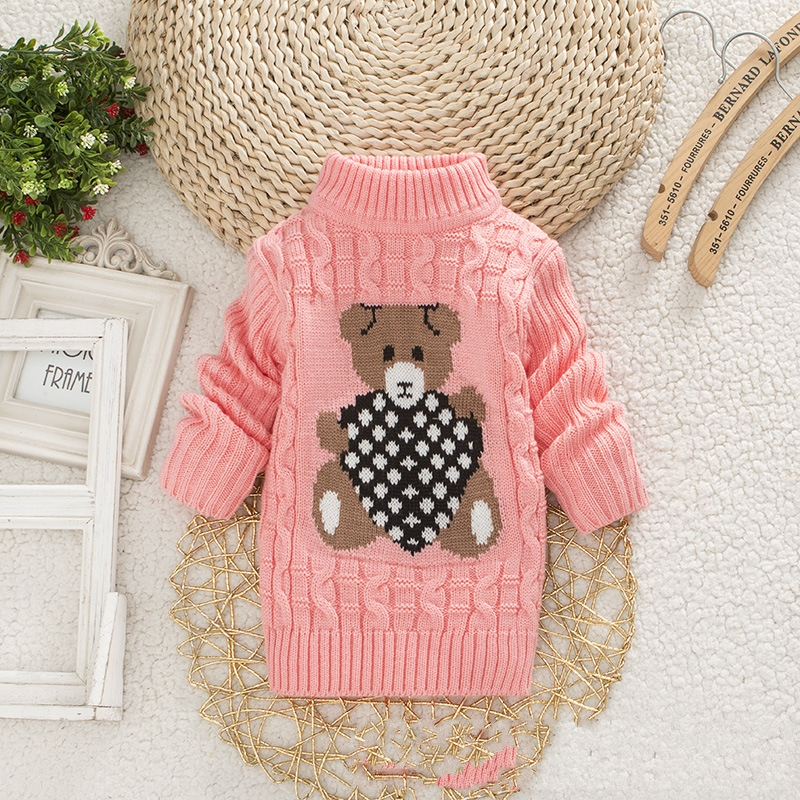 Pink Cartoon Baby Girls Sweater jumper Autumn Winter Kids Knitted Pullovers Turtleneck Warm Outerwear Boys Sweater