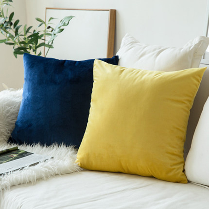 Pillow Cover Yellow Sofa Decoration Cushion Cover Velvet Pillow Case For Living Room Car Decoration Kussenhoes 45x45 Home Decor