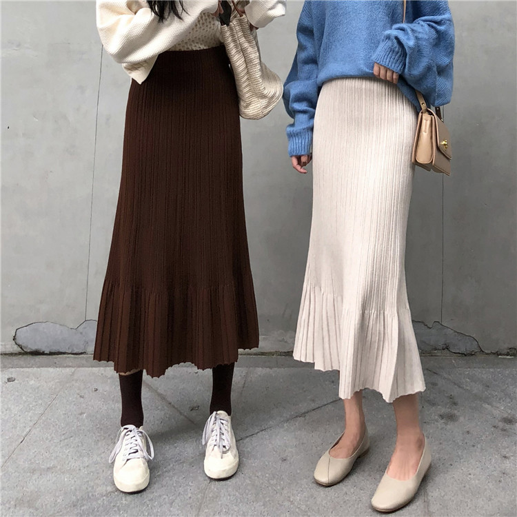 Korean Autumn Winter Knit Loose High Waisted Long Skirt Casual Pleated Skirts For Women Skirts