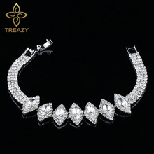 TREAZY Luxury Austria Crystal Bracelet for Women Silver Color Rhinestone Leaves Bracelets & Bangles Bridal Wedding Party Jewelry