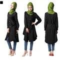 A017 Новый стиль Хлопок Одну Строку Кнопку на передней с поясом леди рубашка 4 цветов на складе Пункт Чистый цвет Мусульманская Женщина абая