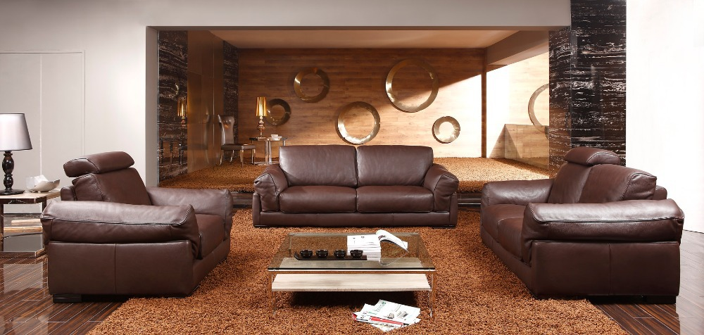 8256# Living Room Leather Sofas Feather Sosfa Set/ Luxury Leather Sofas 1+2+3