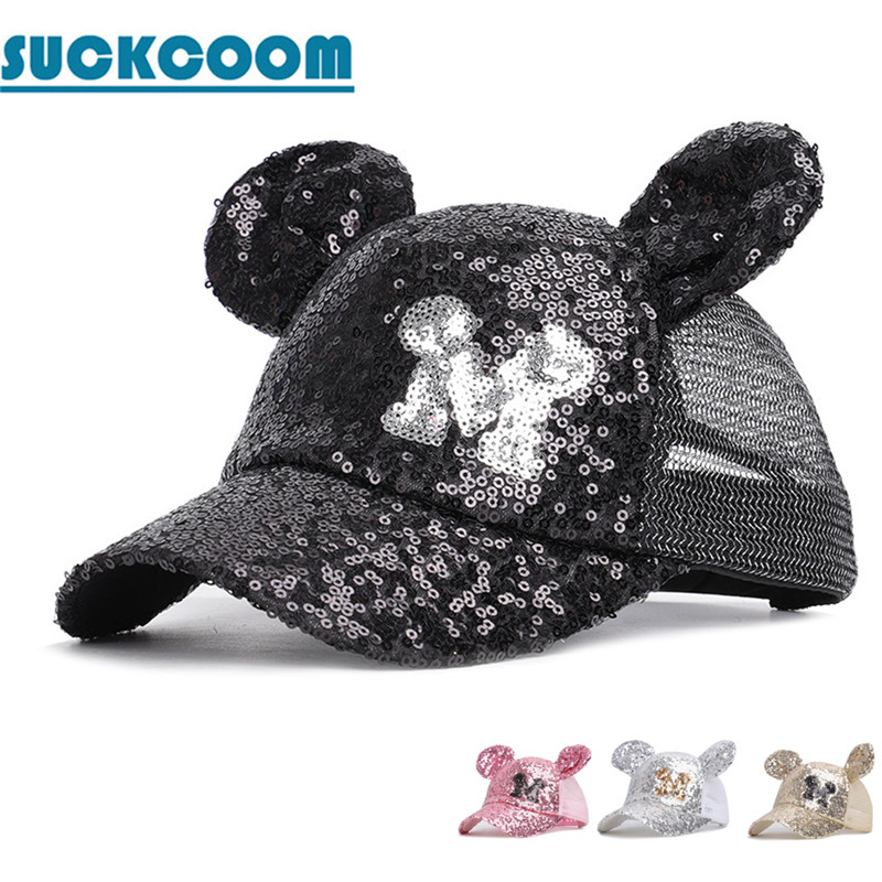 New Girls Minnie Cute Ears Sequins   Baseball     Cap   Kids Summer Net Hat Outdoor Shade High Quality Adjustable Streetwear Casquette