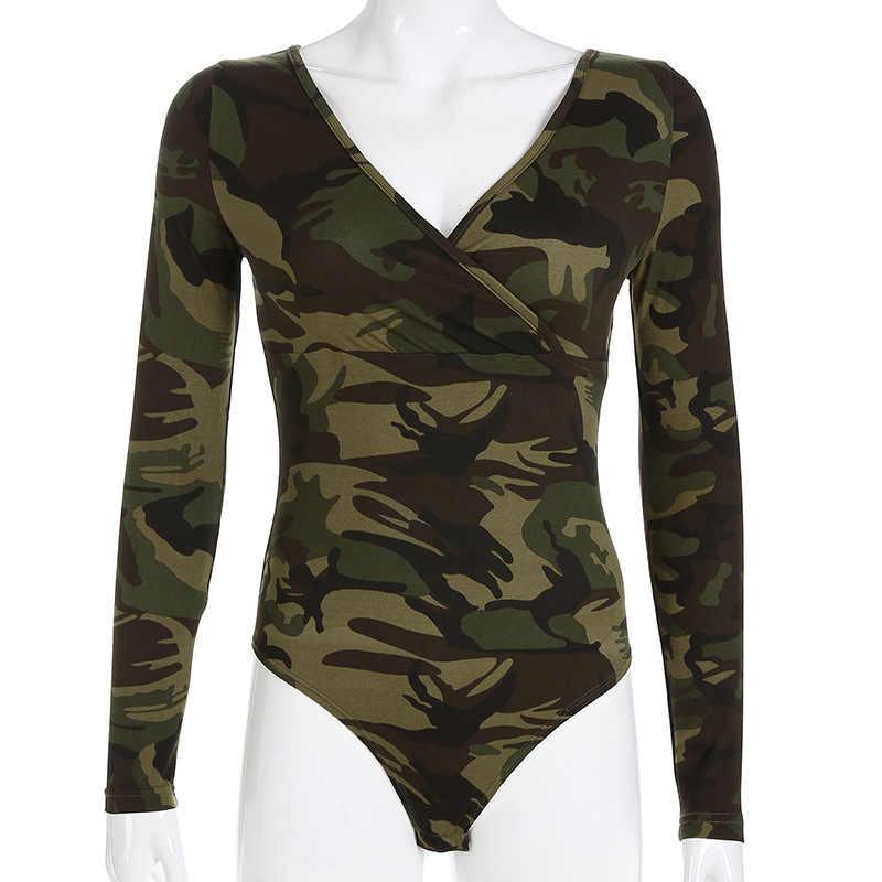 Камуфляжный принт, повседневный боди с длинными рукавами, сексуальный v-образный вырез, облегающий женский армейский зеленый комбинезон, Клубные уличные базовые боди