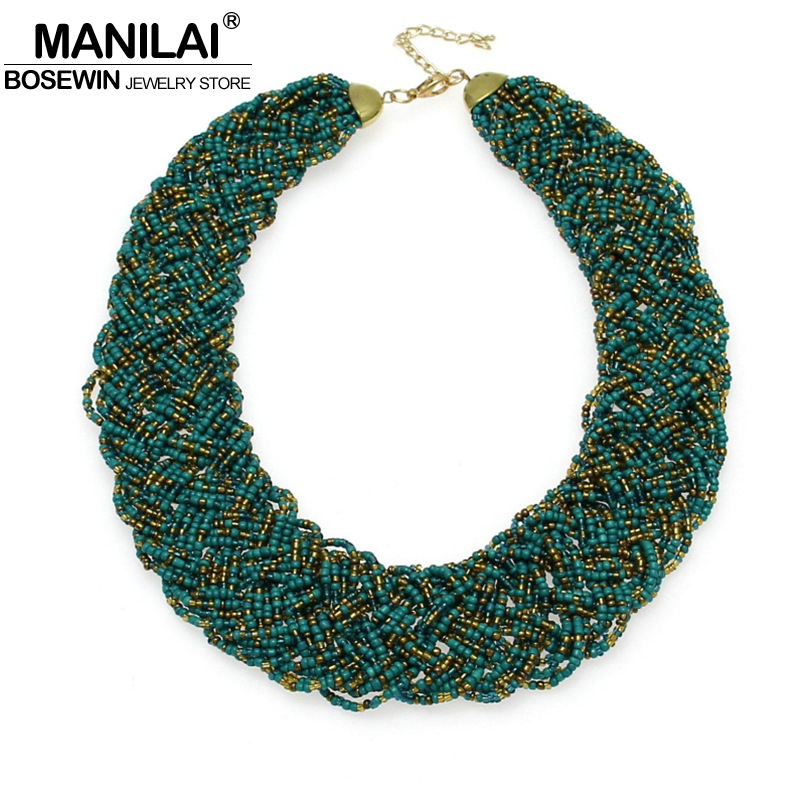 MANILAI Vintage Beaded Handmade Chunky Chain Bib Choker Collar Statement Necklace Boho Ethnic Maxi Necklaces For Women kolye все цены