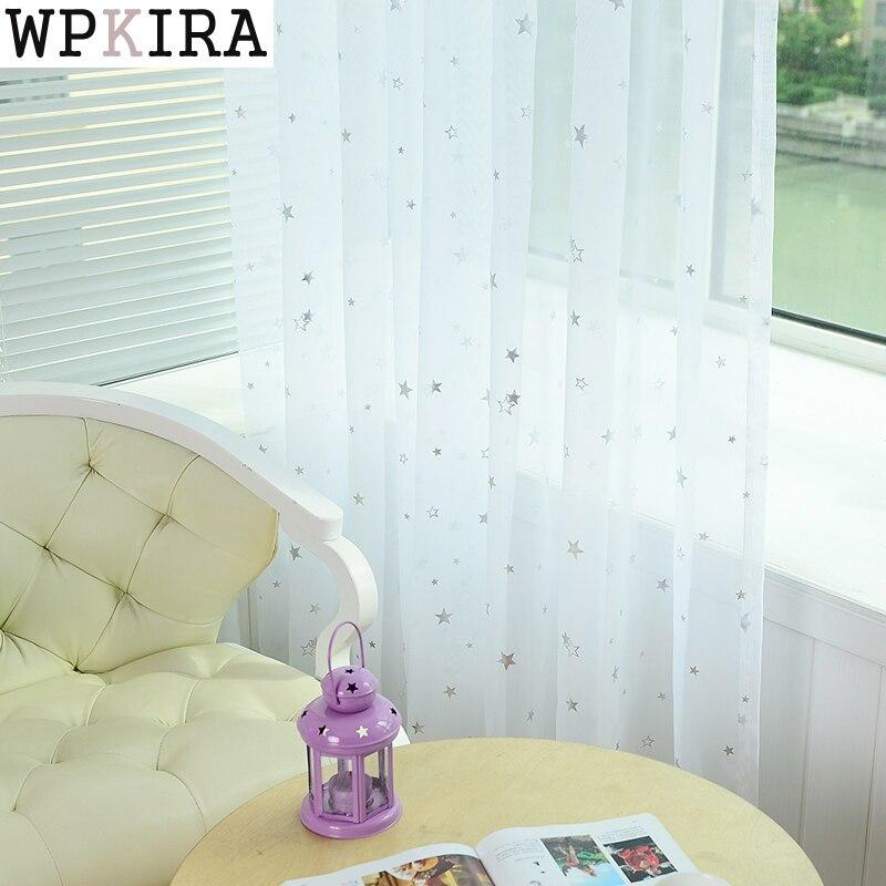 לבן כוכב טול וילונות מודרני וילונות לסלון שקוף טול וילונות חלון וילונות Sheer עבור השינה 234 & 20