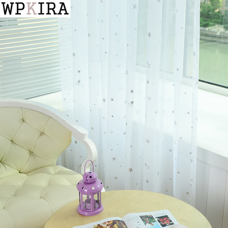 White Star Tulle Curtains Modern Curtains for Living Transparant Tule Gordijnen Window Drapes Sheer voor de slaapkamer 234 & 20