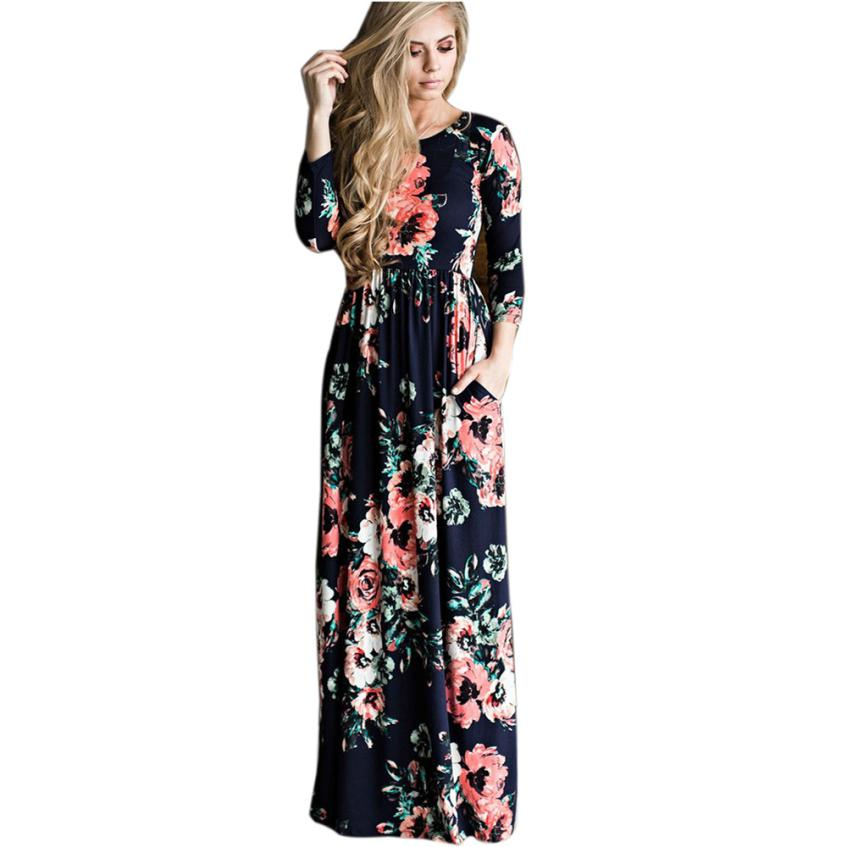 snowshine YLI Women Floral Print Long Sleeve Boho Dress Ladies Evening Party Long Maxi Dress free shipping