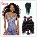 3 Bundles With Closure 7A Brazilian Deep Wave With Closure Deep Wave Brazilian Hair With Closure Cheap Deep Curly Brazilian Hair