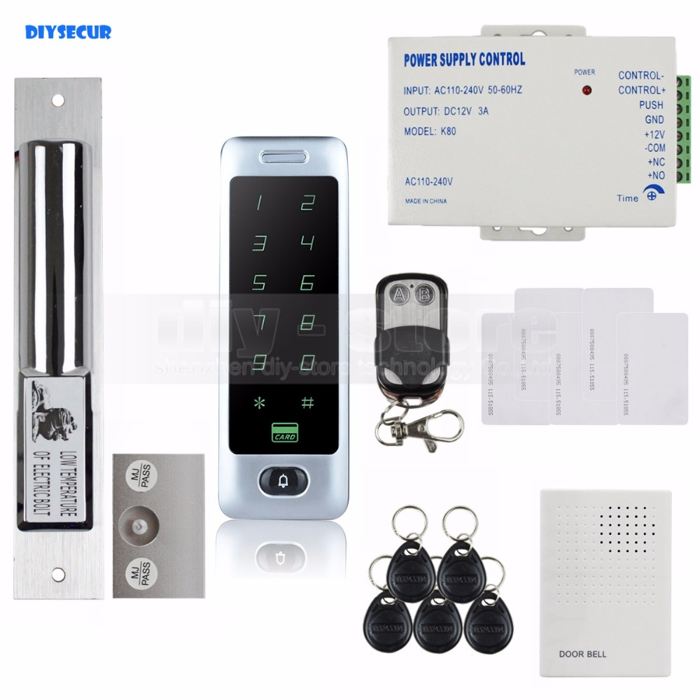 DIYSECUR Electric Bolt Lock 125KHz RFID Reader Password Keypad Remote Control Door Access Control Security System Kit C40 diysecur electric lock waterproof 125khz rfid reader password keypad door access control security system door lock kit w4