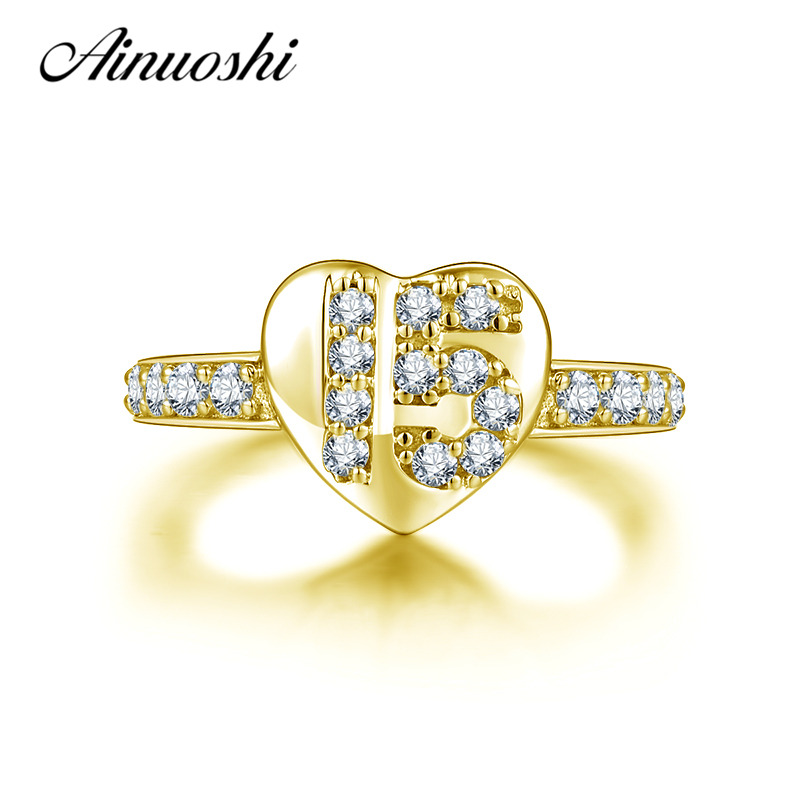 AINUOSHI 10K Solid Yellow Gold Heart Ring Luxurious 15th Anniversary Women Ring Jewelry Engagement Wedding Birthday Party Ring ainuoshi exquisite queen crown ring 10k solid yellow gold flower ring women jewelry engagement wedding birthday party heart ring