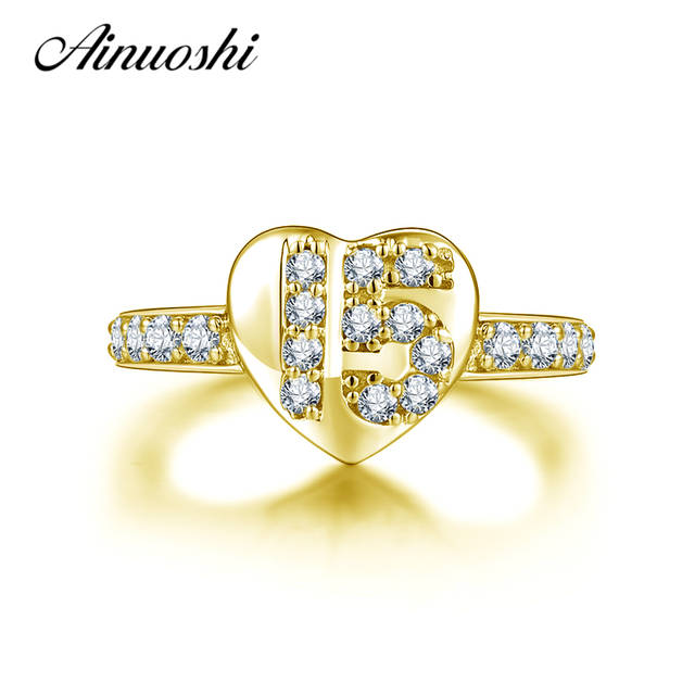Ainuoshi 10k Solid Yellow Gold Heart Ring Luxurious 15th