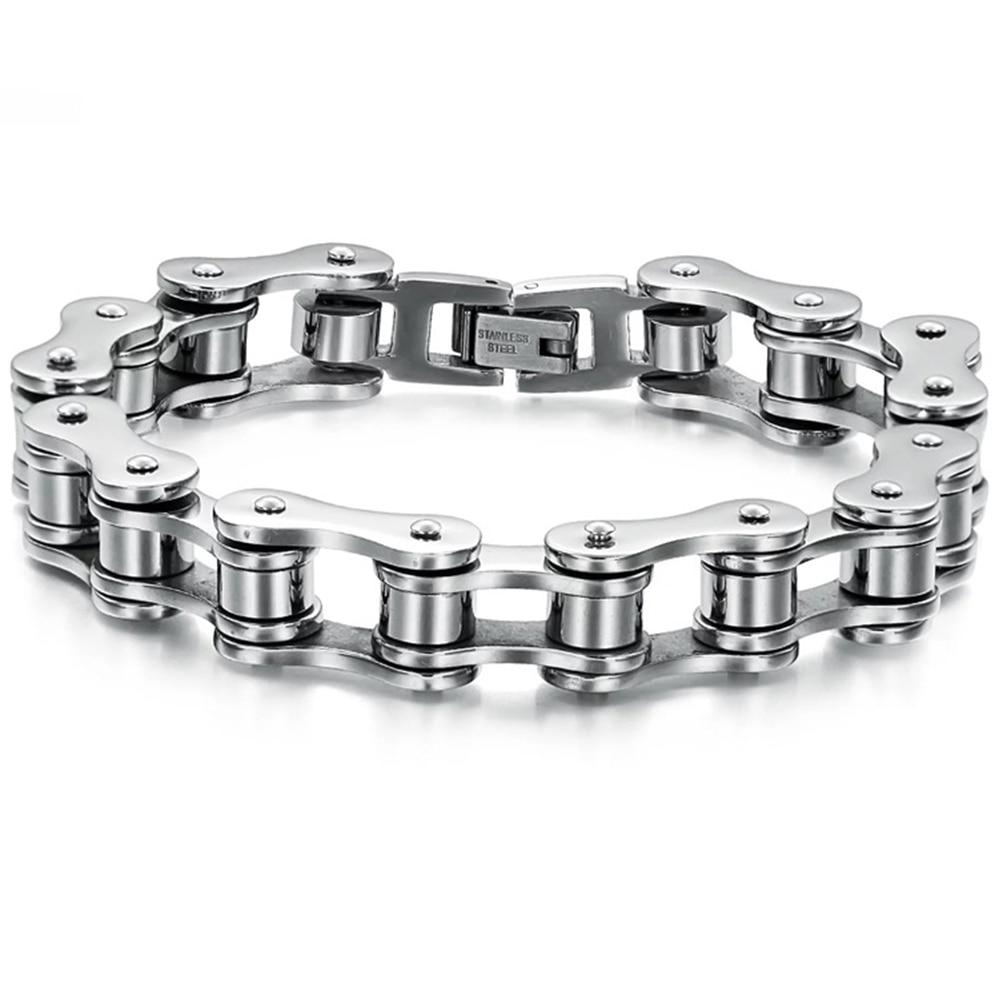 Модный браслет-цепочка для мужчин и женщин, браслет из титановой стали в стиле панк для байкеров, езды на велосипеде и мотоцикле