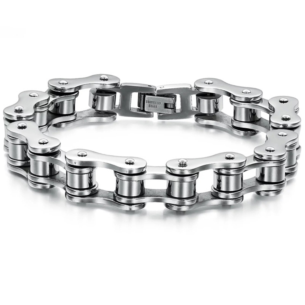 Fashion Men Women Biker Bicycle Motorcycle Chain Bracelet Bangle Punk Titanium Steel Bracelet Men Bangle