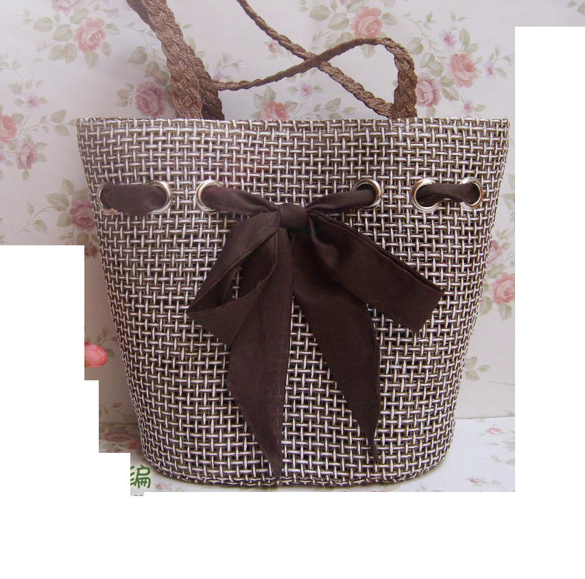 38cm big straw Bag Hole Bow Hollow up woven Bag Summer Bag A2832 bow decor flower woven tote bag