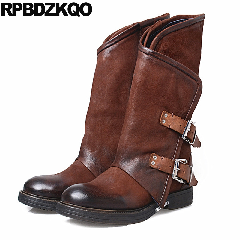 Vintage Flat Round Toe Comfortable Chunky Sheepskin 2017 Genuine Leather Brown Metal Shoes Women Boots Winter Mid Calf Retro new arrival superstar genuine leather chelsea boots women round toe solid thick heel runway model nude zipper mid calf boots l63