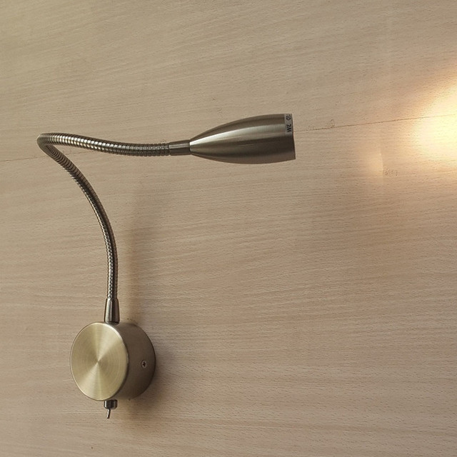 Topoch LED Indoor Wall Lamps Flexible Gooseneck Hard-wired Brushed Nickel Finish Toggle Switch CREE LED 3W AC100-240V DC12V/24V