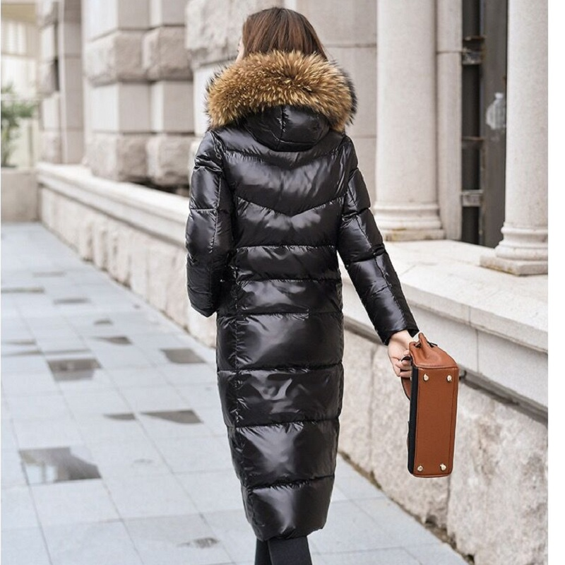Women White Duck Down Coat Shiny Girl's Winter Pleated  Down Jacket Big Fur Collar Hooded Female Thermal Coats BLACK
