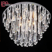 Round Design Modern Crystal Light Chandelier LED Living Room Lights Free Shipping