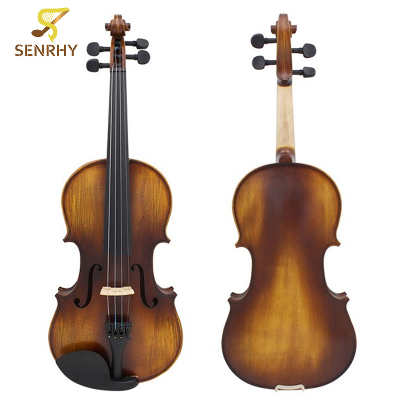 Senrhy Full Size 4/4 Acoustic Violin Stringed Instruments Fiddle with Violin Case Bow Rosin Parts Accessories Set Kit Musical 4 4 high grade full size solid wood natural acoustic violin fiddle with case bow rosin professional musical instrument