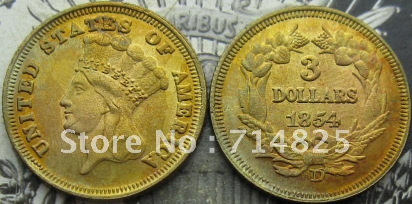 1854-D $3 INDIAN PRINCESS GOLD COINS COPY