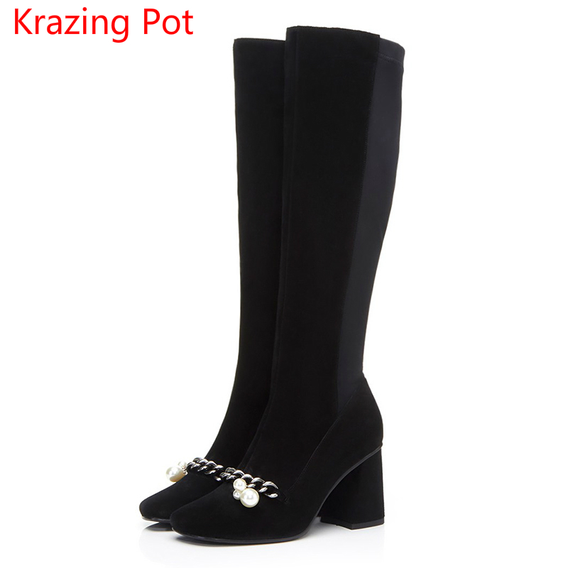 2018 Cow Suede Square Toe Pearl High Heels Metal Chains Thigh High Boots Winter Boots Fashion Superstar Over-the-knee Boots L22