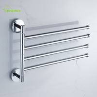 Solid Brass Rotary Towel Rack Toilet Hanging Rod Bathroom Movable Bar 4 Arms Chrome Finish Wall