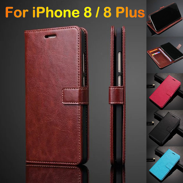 huge selection of c7531 403a3 US $4.74 5% OFF|Luxury Retro Card Holder Cover Case For iPhone 8 Leather  Original Phone Case Ultra Thin Wallet Flip Cover For iPhone 8 Plus Capa-in  ...